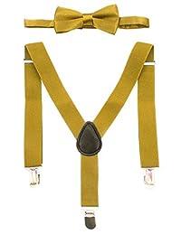 Unisex Children Solid Adjustable Elastic Wedding Daily Wear Suspender Bowtie Set