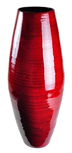 (Handmade Red Bamboo Vase- Spun Lacquer Finish-12)