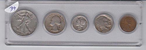 1934 Birth Year Coin Set- (5) Coins- Half - Five Dollar 1934
