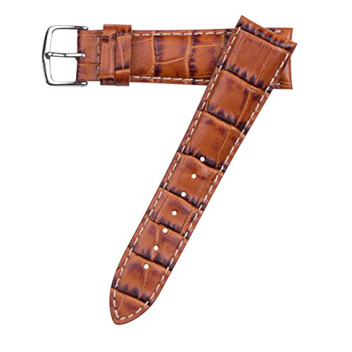 Hadley Roma Matte Stitched Alligator Grain Watch Band Tan 20mm MS834 (Tan Alligator Grain)