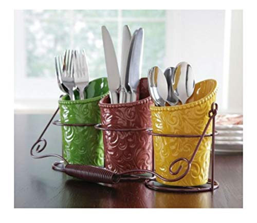 Autumn Harvest Leaf Silverware Utensil Holder Thanksgiving Fall Kitchen Table