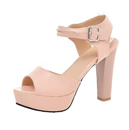 VogueZone009 Women Buckle PU Peep-Toe High-Heels Solid Sandals, CCALP013696 Pink