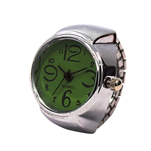 EERLLZ NEW Hot Korean Style Creative Steel Cool Elastic Analog Ring With Quartz Watch Female Ring Students Fashion Classic Flip Finger Green Resizable by EERLLZ (Image #1)