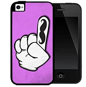 Funny Index Finger with Black Mustache Hot Pink Background 2-Piece Dual Layer High Impact Black Silicone Cell Phone Case Cover iPhone i5 5s