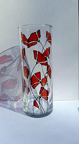 Red Poppy Flower Hand Painted Stained Glass 9 Inch Cylinder Vase Home Decor 6