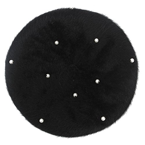 Lisainthus Women's Soft Angora Pearl French Beret Hat Black