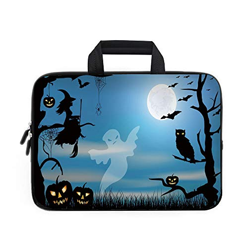 (Halloween Laptop Carrying Bag Sleeve,Neoprene Sleeve Case/Ghost Witch Owl Spider Web Bats Trees Fantastic Grange Forest at Night Decorative/for Apple Macbook Air Samsung Google Acer HP DELL Lenovo Asu)