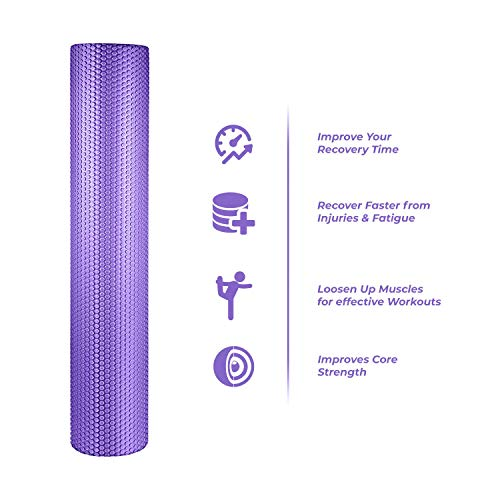 spinway Yoga Foam Roller Speckled Foam Rollers for Muscles Extra Firm High Density for Physical Therapy Exercise Deep Tissue Muscle Massage (Puple) by spinway (Image #1)