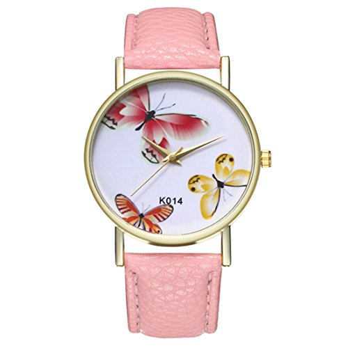 Artificial Leather Dial Band (Loweryeah Women Butterfly Pattern Casual Quartz Watch Print Dial Watch Artificial Leather Band(Pink))
