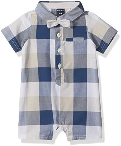 Nautica Baby Boys' Short Sleeve Woven Romper with Bowtie Set
