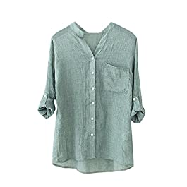 Women's  Casual Loose Blouse Button Down Top Shirt