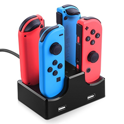 Sunvito Joy-Con Charging Station,4 in 1 Joy Con Charging Dock with LED Indicator,Charging Dock Stand for Nintendo Switch Controller(Black)