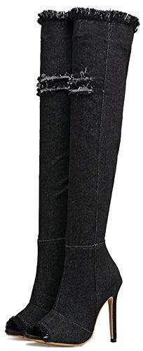 Damen Hohe Easemax Stiletto Trendy Kniehohe Reißverschluss Seitlichem Denim Spitze Über Stiefel Schwarz Offene dx0Fgqpw