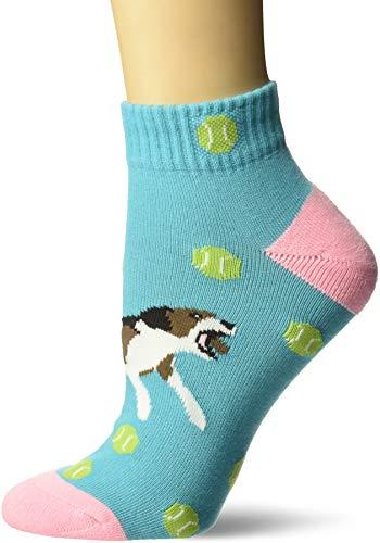 K. Bell Women's Novelty Fashion Athletic Quarter Socks, Blue (tennis Dog), Shoe Size: 4-10 (K Bell Tennis Balls)