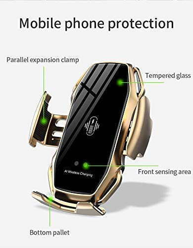 Compatible with iPhone 11//11 Pro Max 8 Plus 8 X Motion Sensor Auto-Open Phone Car Mount 10W Qi Fast Charging Gold Car Phone Holder Air Vent XS Max 2020 Smart Car Charger Xs Xr
