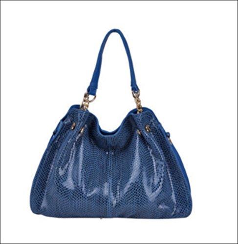 Sac à main PITONE, sac en cuir PU, sac bandouliére femme, sac à main tendance, sac à main cuir - Blu, Type 1