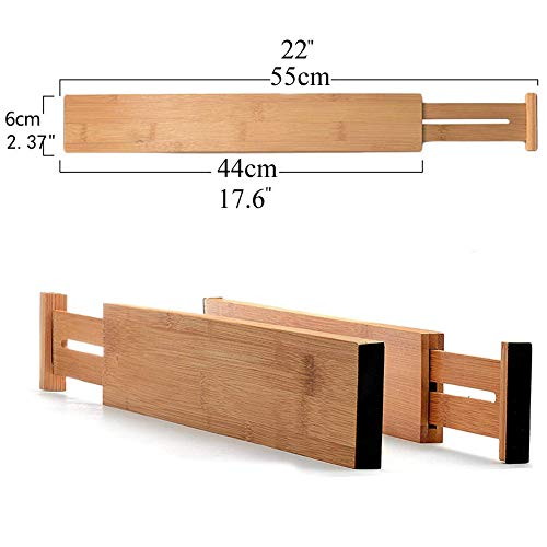 G-LEAF 6 Set Drawer Dividers Bamboo Adjustable Kitchen Drawers Organizer Divider by G-LEAF (Image #1)