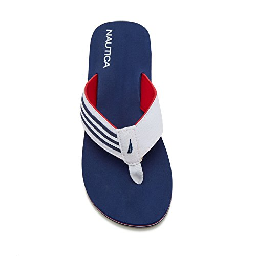 Nautica Menns Fottau Flip Flop, Strand Sandal, Båt Sklie, Hvit / Blå