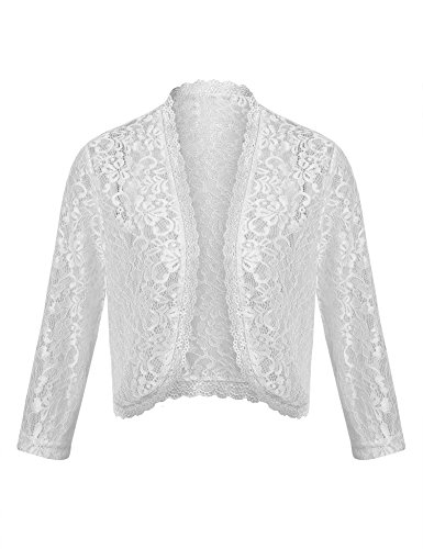 ThinIce Bolero Shrugs Sheer Lace See Through Summer Blouse Sexy Party Cropped Jackets Cardigans (White, S)