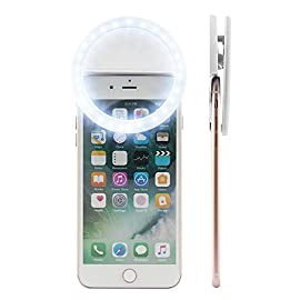 KAMII Selfie Ring Light - 3-Level Brightness Selfie Light LED for iPhone 7 Plus/ 6S Plus/ 6S/ 5S, Samsung Galaxy S8 Plus/ S8/ S7 Edge/ S7 and Smartphones/ Tablets, Great for Applying Make Up 2 3 LIGHT SETTINGS - Adjustable from light to super bright. Great for selfies and nighttime. Portable, super light-weighted, just put it in your bags or even in your pockets. [HIGH QUALITY MATERIAL] - Made from high quality plastic and LEDs, Lightsome and functional plastic, durable and shockproof.