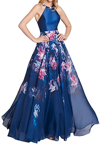 NANIYA Women's Halter Beaded Prom Dresses Long Floral Printed Chiffon Party - Gown Printed Chiffon