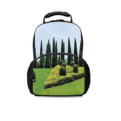 Country Home Decor Leisure School Bag,Classic Formal Designed Garden With Evergreen Shrubs Boxwood Topiaries for School Travel,One_Size