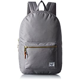 Herschel Supply Co. Settlement Backpack 17 Rounded zip-top backpack with zippered front pocket Lined in signature coated candy-stripe polyester Interior laptop sleeve and gusseted media pocket with headphone cord port