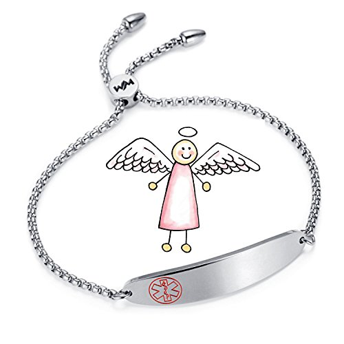 WelMag Women's Charm Adjustable Medical ID Bracelets (Silvery)
