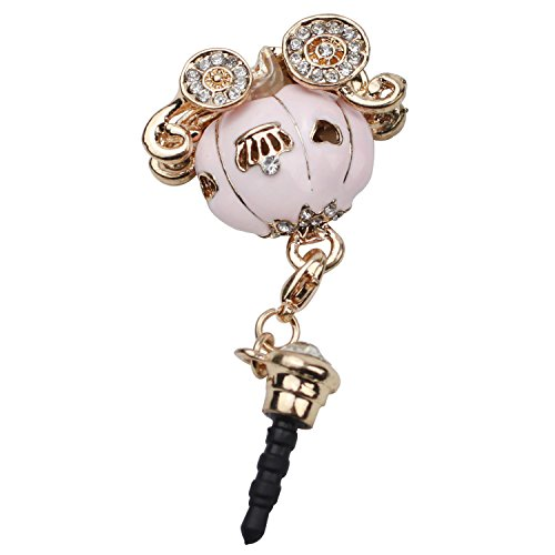 Lowpricenice New Cinderella's Pumpkin Carriage Design 3.5mm Earphone Jack Dustproof Plug Ear Dust Cap (pink)