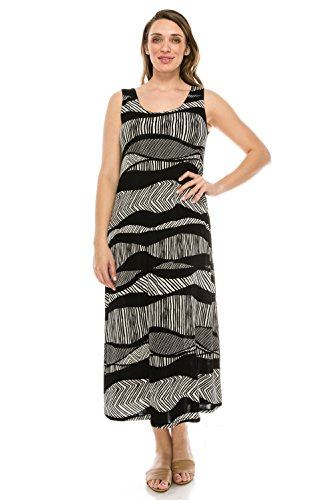 Abstract Print Dress (Jostar Stretchy Long Tank Dress with Print in Abstract Design Black Color in X-Large Size)
