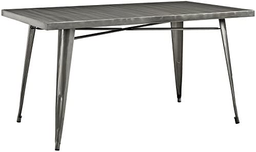 Modway Alacrity 60 Rustic Modern Farmhouse Stainless Steel Metal Rectangle Dining Table