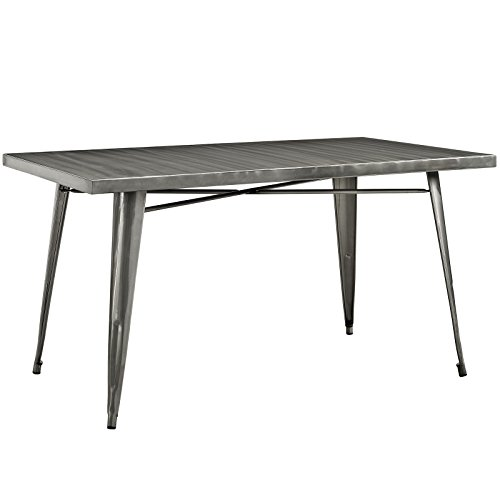 Modway Alacrity Industrial Modern Stainless Steel Metal Dining Table, 59.5