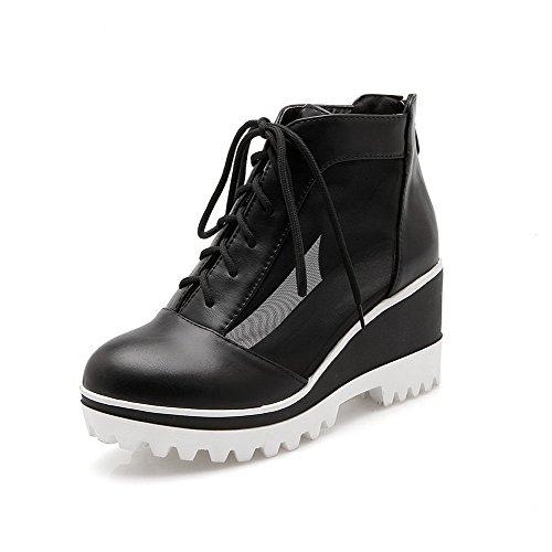 Amoonyfashion Womens Rits Mix Materialen Rond Gesloten Teen Hoge Hakken Effen Pumps-schoenen Zwart