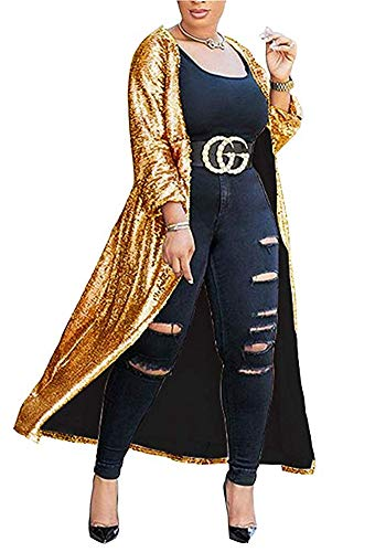 PROMLINK Women Long Sleeve Sequin Blazer Jacket Sparkly Bomber Coat,Gold]()