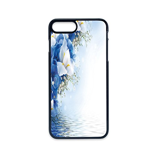 Hydrangea Dreamy (Phone Case Compatible with iPhone7 Plus iPhone8 Plus 2D Print Black Edge,Light Blue,Blue Hydrangeas and White Irises Over The Sea Romantic Bouquet Dreamy,Blue Light Blue White,Hard Plastic Phone Case)