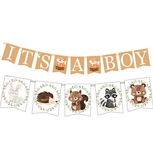 Woodland Creatures ITS A BOY Banner for Baby Shower + Fox, Raccoon, Rabbit, Bear, Squirrel and Porcupine/Animals Themed -