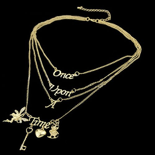 [Women New Vogue Rhinestone Fairy Key Love Heart Letter Pendant Charm Necklace] (Womens Accessories Shop)