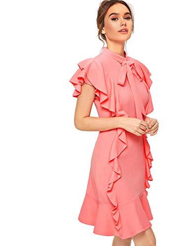 - Floerns Women's Tie Neck Ruffle Hem Short Cocktail Party Dress Pink L