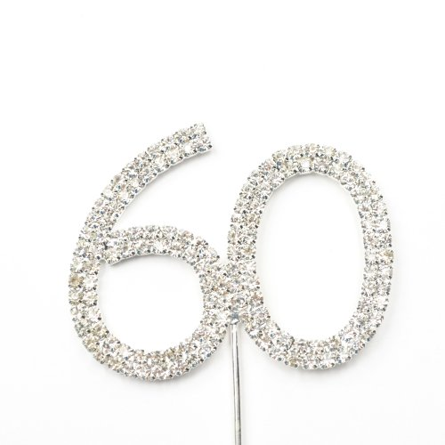 (Cosmos ® Rhinestone Crystal Silver Number 60 Birthday 60th Anniversary Cake Topper)