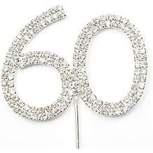 Cosmos ® Rhinestone Crystal Silver Number 60 Birthday 60th Anniversary Cake Topper