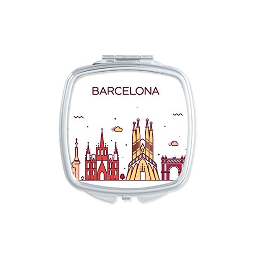 Barcelona Spain Flat Landmark Pattern Square Compact Makeup Pocket Mirror Portable Cute Small Hand Mirrors by DIYthinker