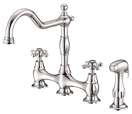 Danze D404557PNV Opulence Two Handle Kitchen Faucet With Side Spray, Polished  Nickel PNV