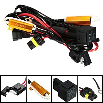 40A Relay Wiring Harness 50W Load Resistor H1 H7 H11 9005 ... on