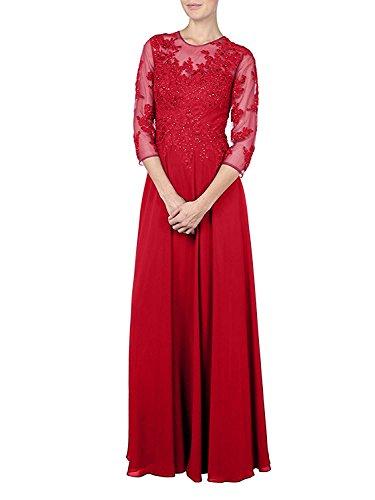 Rot La Damen Bodenlang Brautmutterkleider 2018 Abendkleider Spitze mia Braut Promkleider Lang Partykleider ppxqrPS
