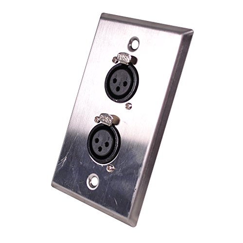 Seismic Audio SA-PLATE42 Stainless Steel Wall Plate -Dual XLR Female Connectors for Cable Installation ()
