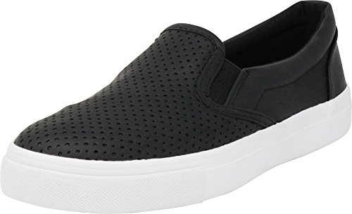 Cambridge Select Women's Round Toe Perforated Laser Cutout Slip-On Flatform Fashion Sneaker,10 M US,Black Pu/White Sole