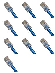 10 Ft (10ft) Cat5e Ethernet Network Patch Cable RJ45 (10 Pack) Blue