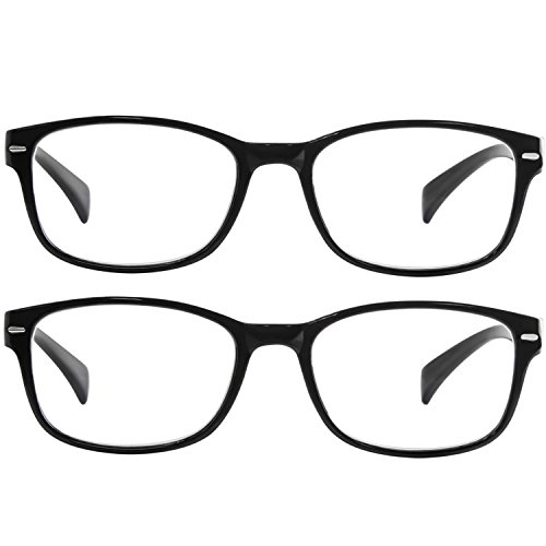 Reading Glasses 2 Pack Black_ Always Have a Timeless Look, Crystal Clear Vision, Comfort Fit With Sure-Flex Spring Hinge Arms & Dura-Tight Screws 100% Guarantee +2.00 by TruVision Readers (Image #2)