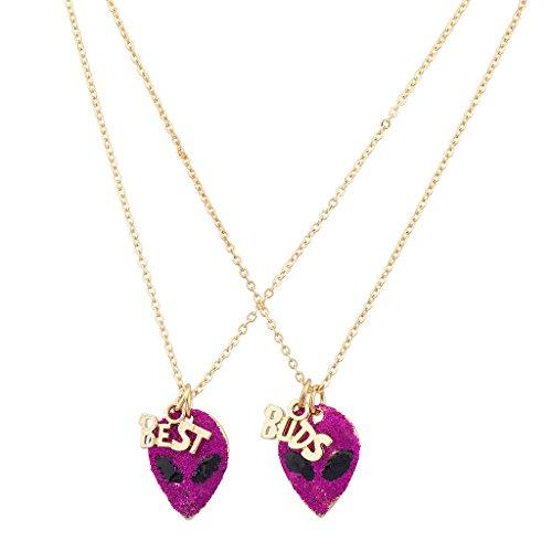 Lux Accessories Best Friends BFF Glitter Alien Head Necklace Set (2 Pc) ()