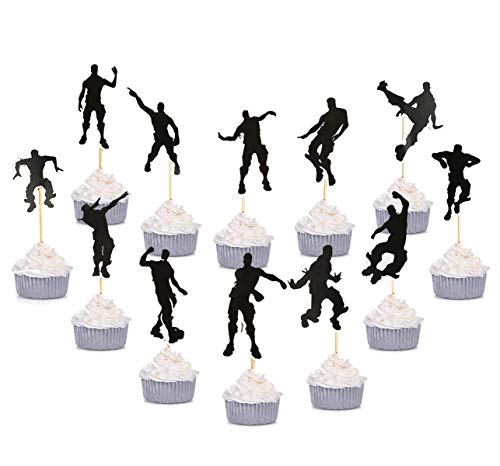 24 PCS Game Theme Cupcake Toppers Party Favor Dance Floss Happy Birthday Cake Decoration Game Party ()